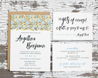 Floral Bliss Wedding Invitation (Blue Edition)