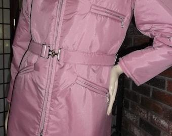 Vintage Ski Parka Jacket Coat S 70s NWOT Mauve Action-Rite Sportswear Belted Hooded