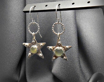 Sterling Silver Star Earrings with Pale Green Prehnite Stone Cabochons and Silver Stardust