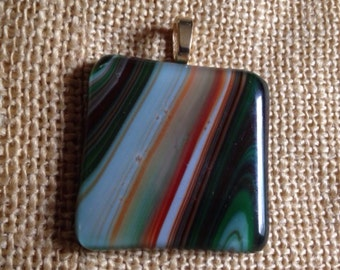 Green, orange multi-stripes fused glass pendant