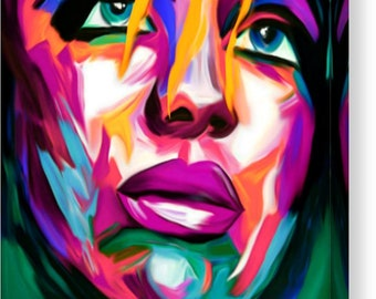 Just Face Expressive Portrait 02 Feeling/Female/Canvas/XXLPainting/Print/Poster/Decorative/ModernArt/LargePainting/ModernArt/PopArt/Loft/Art