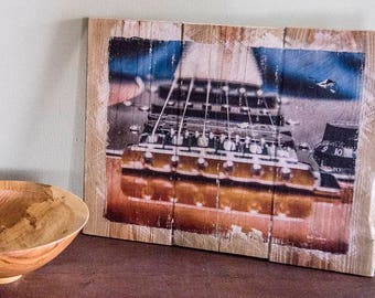 Acoustic Guitar Wall Hanging, Fine Art Photograph Manually Transferred to Reclaimed Wood, Ready to Hang on your Wall