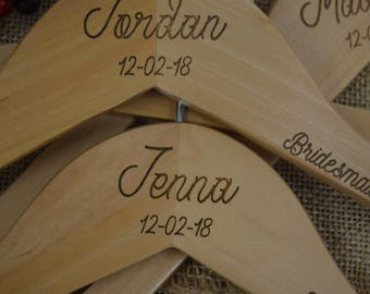 Wedding Name Hangers- Bride- Personalized Bridesmaid Hangers - Wedding Hanger - Bridal Dress Hanger - Engraved Bridesmaid Hanger -