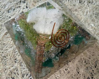 Orgone Pyramid Golden Rutile-lemurian Seed Crystal-Peridot-Green Onex-Copper-Pyrite For Happy Life 85 MM