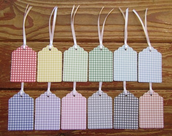 Gift tags. Gingham Gift Tags. Choice of colours tied with White Ribbon.