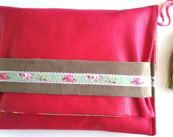 pouch pink and taupe suede and floral printed fabric shabby chic