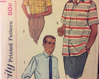 Vintage 1950's  Men's Shirt Sewing Pattern Simplicity 2081 Men's Chest 38-40 inches Complete