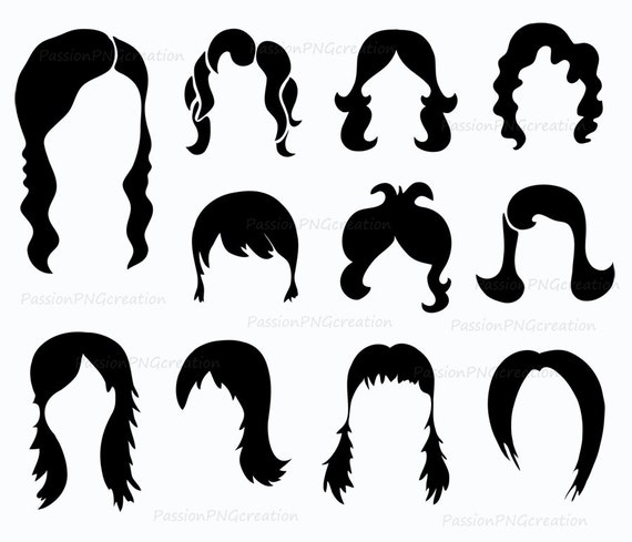 digital wig clipart photobooth props printable digital hair photo rh etsystudio com wig clip art free wig clipart black and white