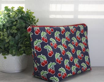 Large Red Cherry on Blue Zipper Make-up bag, Cosmetic bag, Wet bag, Travel bag, Cotton, Zipper Pouch with Water-Resistant Lining