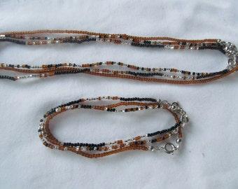 6 PC Set Glass Beaded Bracelet Necklace Sets Bohemian Gypsy Hippy