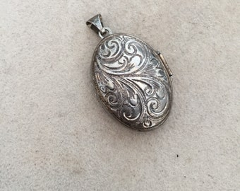 Sale Item: Sterling Silver Locket Pendant Scroll design Natural Patina ---Free Shipping