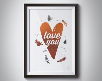 Love You poster - Customizable - gilding - color decoration-living room - bedroom