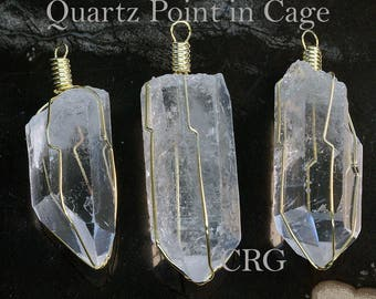 "Gold Plated Caged Quartz Point Pendant 1.5""-2"" (CA3BT)"