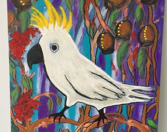 painting acrylic on canvas Australian bird