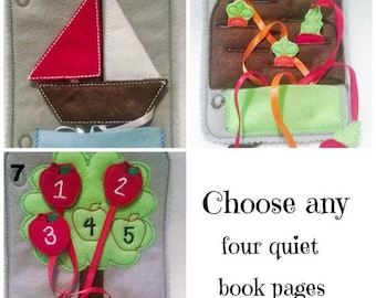 Felt quiet book - Toddler quiet book - Quiet book page - Toddler busy book - Busy book page - Felt busy book - Pick 4 pages plus cover #QB88