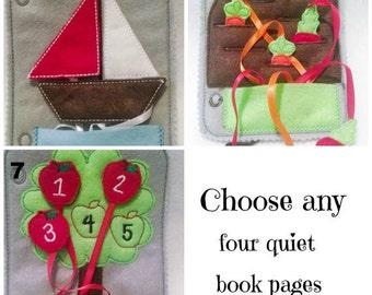 Livre - livre enfant - livre page - livre d'éveil enfant en bas âge - livre d'éveil page - livre d'éveil feutre - Pick 4 pages en feutre, plus de couverture #QB88