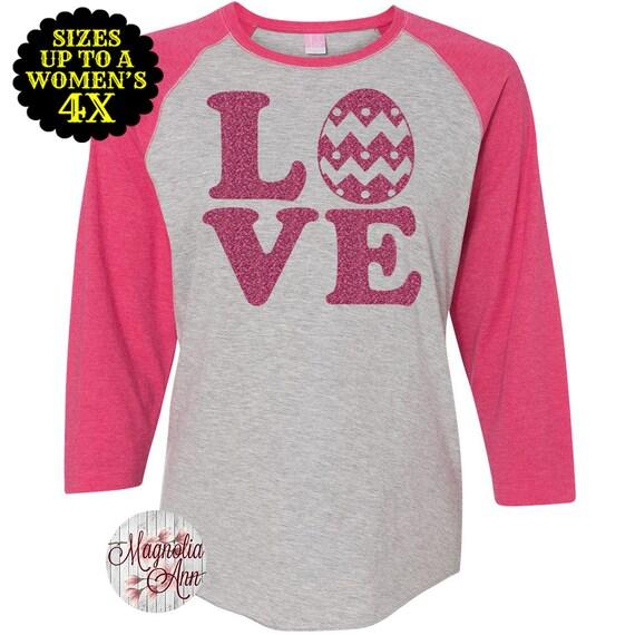 Love Easter Baseball Raglan Shirt, Easter Shirt, Women's Easter Shirt, Easter Raglan, Happy Easter, Hoppy Easter, Plus Size Easter Shirt