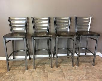 Reclaimed Bar Stool| Set of 4 | In Gun Metal Gray Metal Finish | Ladder Back Metal | Restaurant Grade -30 Inch High Barstool