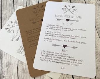 Rustic/Vintage/Shabby Chic Wedding Speech Sweepstake Game, / Table Activity Cards / Wedding Decor/Tag Rustic