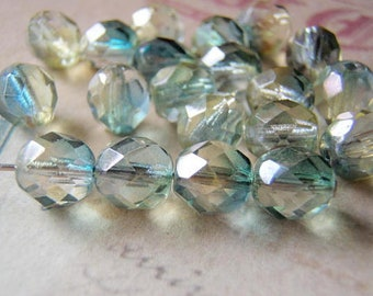 Blue Green Beads 6mm Two Tone Faceted Glass 20 Beads