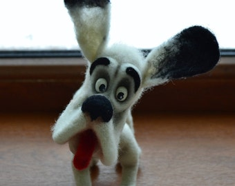 Felt dog Felted Puppy White Puppy Wool animals sculpture Eco friendly art Collectible artist animals Wool animals Funny pets  Crazy zoo