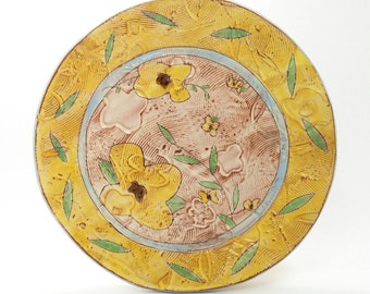 Yellow Floral themed dinner plate - earthenware, handbuilt food safe plate made by Kaitlyn Brennan/Brennan Pottery