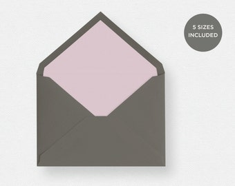 Envelope Liner Template | 5 Envelope Sizes Included Printable Instant Downloads | Pink | No. EDN 5237