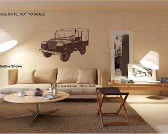 "1948 Landrover Series 1 - 80"" - Wall Decal - Wall art Sticker - ( Black outline shown )"