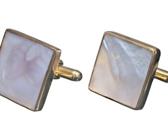 Mother Of Pearl Cufflinks Gold Plated Sterling Silver 925