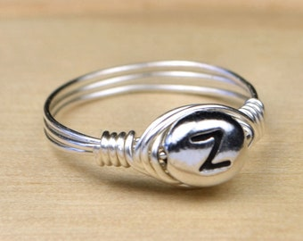 Pewter Letter Z Monogram Initial Wrapped Ring- Sterling Silver, Yellow or Rose Gold Filled Wire-Size 4 5 6 7 8 9 10 11 12 13 14 1/4 1/2 3/4
