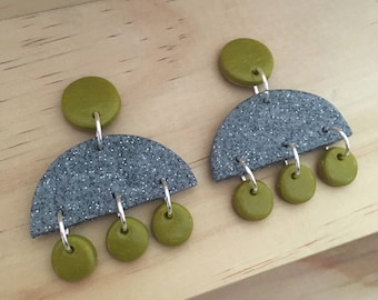 "Handmade statement dangle earrings // gifts for her // ""Granite khaki"""