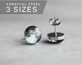 Full Moon earring studs, Surgical steel posts, Tiny earring studs, Space jewelry, Moon earring, mens earrings