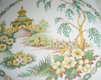 Vintage Asian Tile,Pagoda Temple and Gardens on Ceramic Tile with cork back,Asian Pagoda gardens wall hanging tile in yellows, 6in x6in tile