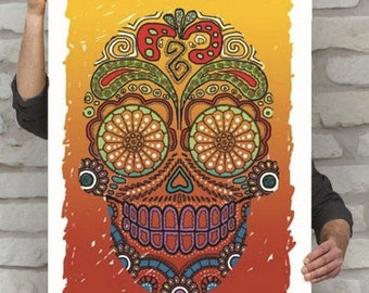 Calavera Poster   Sugar Skull Print   Day of the Dead