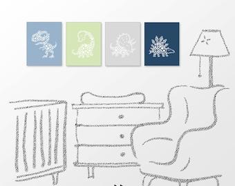 Dinosaur nursery printable, gender neutral kids room decor, blue green, digital image x61 125 8942