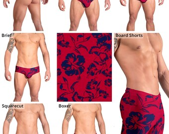 Deep Red & Blue Hibiscus Swimsuits for Men by Vuthy Sim:  Thong, Bikini, Brief, Squarecut, Boxer, Board Shorts - 162