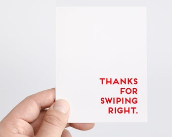 Anniversary Card | Swipe Right | Boyfriend Gift | Thanks For Swiping Right | Love Card | Tech Gift | Anniversary Gift | Greeting Cards