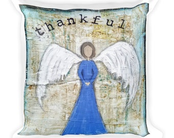 Square Pillow, Thankful Angel Mixed Media Art