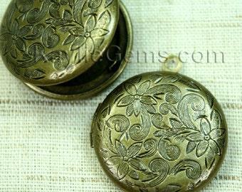 Round Locket Antique Brass Floral Victorian Style   - LKRS-L26AB -6pcs