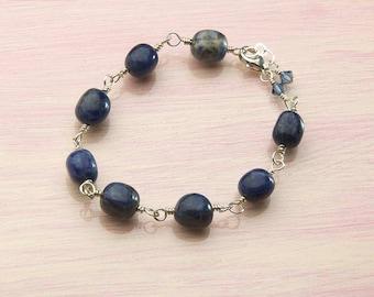 Blue Sodalite Bracelet, African Sodalite Gemstone Bracelet, Navy Blue Gemstones, Blue Bracelet, Sterling Silver, Gift for Her