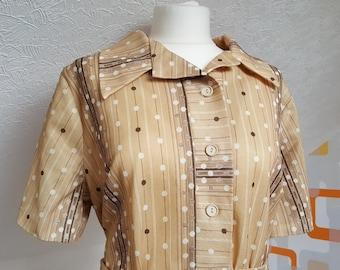 Vintage 1960s Beige Gold Belted Dress Size 18 Large