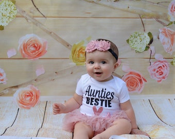 Auntie's Bestie | Baby Girl Outfit | Baby Girl Clothing Set |  Baby Shower Gift | Auntie's Princess | Gift For Niece | Aunt Shirts