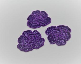 Set of 3 badges applications fusing shape flowers voilet-ref 6B