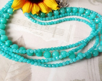Angelite Crystal Multistrand Necklace, Handmade Jewelry, Natural Stone,157