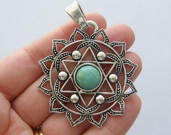 BULK 5 Chakra flower pendant antique silver tone I92
