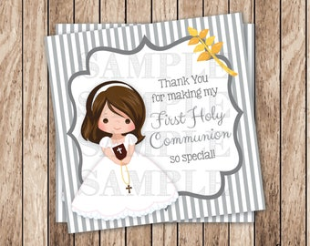 Instant Download . Printable First Communion Tags . Printable Girl Communion Thank You Tags, Printable Thank You Tags