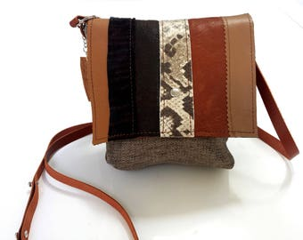 small shoulder bag in mix of LEATHERS and TEXTILES
