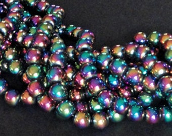 16 inch Strand HEMATITE Multi COLOR 8mm COLORIFIC Round Sphere Spacer Beads 52pc to 55pc