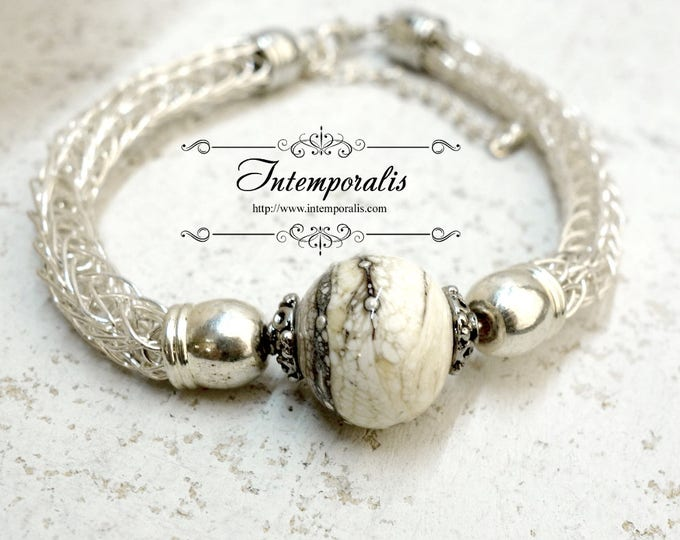 Lampwork and viking knit bracelet, ivory and silver dots, OOAK, SABRLWVI02