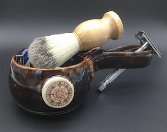 Shave kit, shave mug, pottery, nautical, razor, blade, brush, grooming